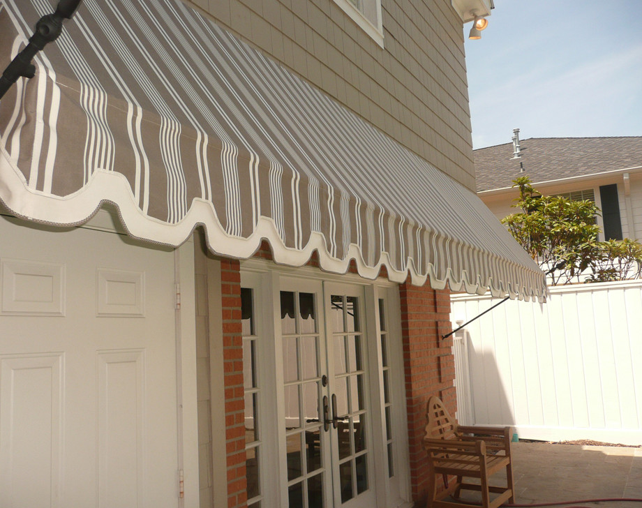 Gray and White Fabric Awning